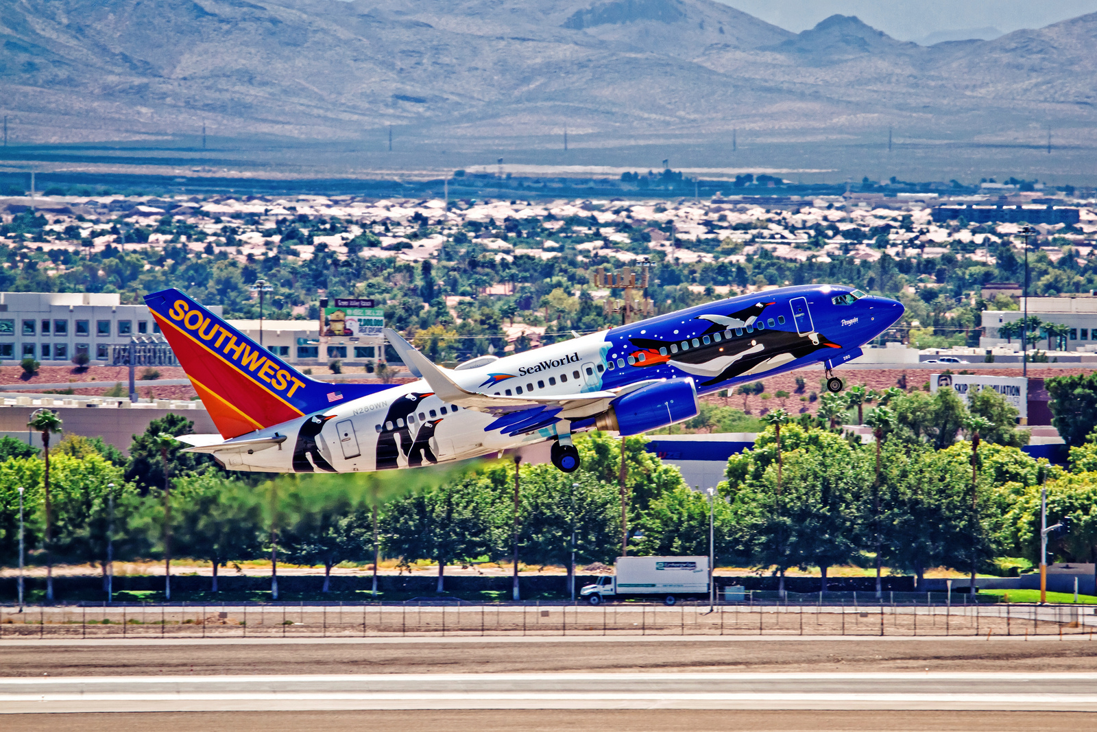 Southwest Airlines' Flight #600 departs for San Francisco, California